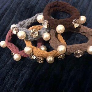 Anthropologie Pearls Crystals Scrunchie set